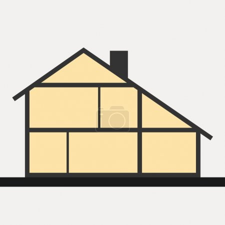 House in cut. Flat section house. Vector illustration