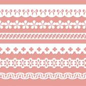 Set of seamless paper laces on the pink background