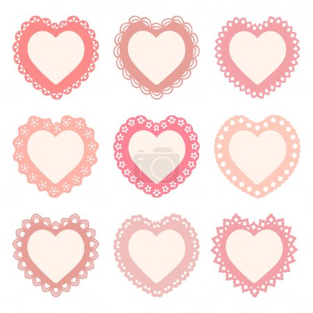 Set of 9 heart frames with an ornamental border (s...