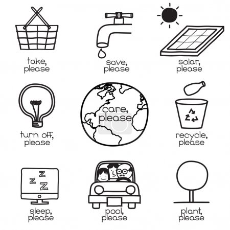 Illustration for Symbols and words show the ways how to save the world energy. Simple, clean and obvious pictogram. - Royalty Free Image
