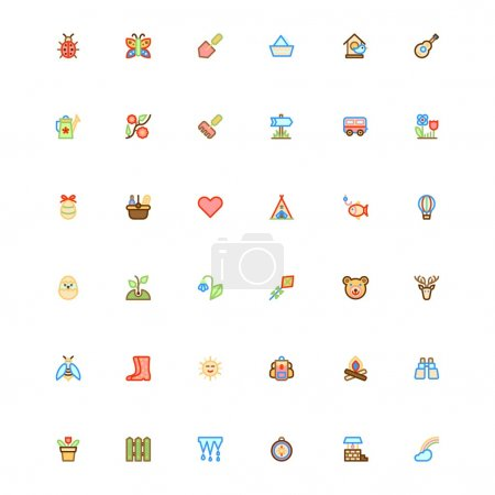 Summer color set icons.