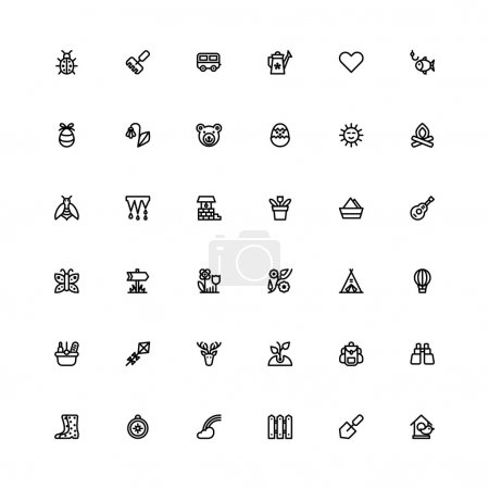 Summer black line set icons.
