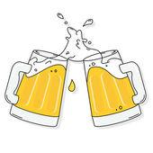 Beer splashing and cheers
