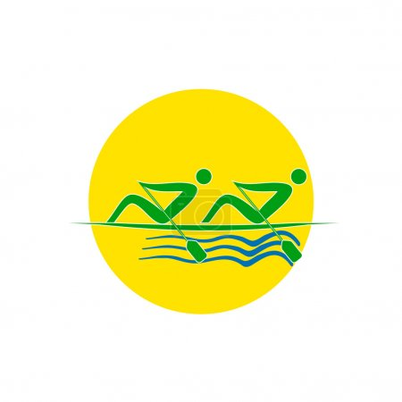 Summer Olympic games logo Rowing Twos. Vector