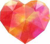 Polygon heart with watercolor texture