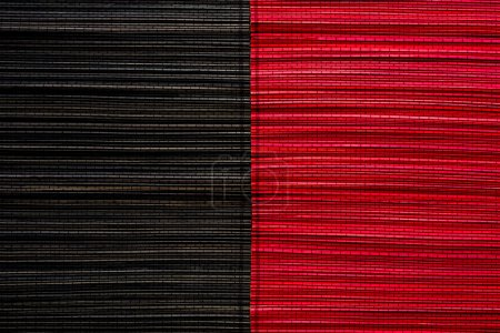 Photo for Red and black bamboo mat texture or background - Royalty Free Image
