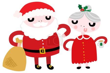 Illustration pour M. et Mme Santa. Illustration vectorielle - image libre de droit