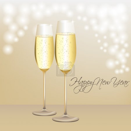 Happy New Year card with champagne glasses