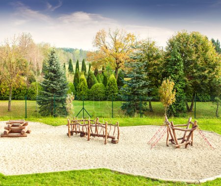 Playground on a fresh air in sunny day.