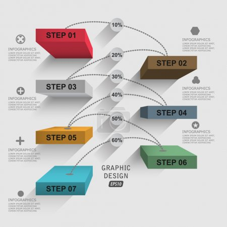 Illustration for 3d shelf data . step by step vector infographics - Royalty Free Image