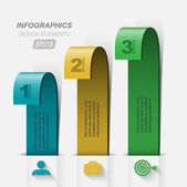 Three curved ribbon banner element Infographic