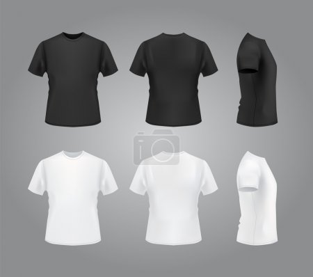 Illustration for T-shirt mockup set, front, side, back view. Blank templates for your use. Vector eps10 illustration - Royalty Free Image