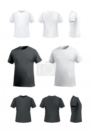 T-shirt mockup set, front, side, back and perspective view.