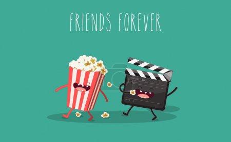 Movie clapper and popcorn in box. Vector cartoon. ...