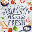 Breakfast poster chalkboard. Fried eggs, sausage o...