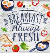 Breakfast poster chalkboard Fried eggs sausage on pan ingredients for breakfast Vector illustration