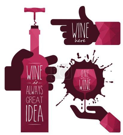 Illustration pour Silhouettes de restaurant sur fond blanc illustration vectorielle. Le vin est toujours une bonne idée. ? ottle de vin à la main, symboles vin. Objet vin. Du vin ici . - image libre de droit
