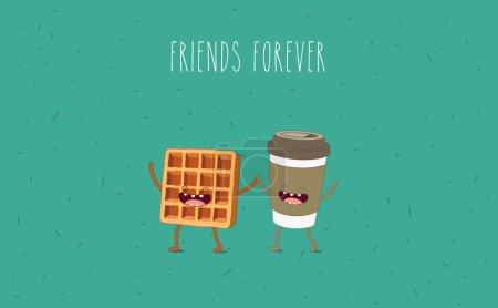 Illustration pour Café et gaufres. Caricature vectorielle. Des amis pour toujours. Personnages comiques . - image libre de droit
