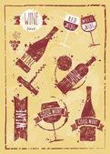 Vintage wine set kraft paper