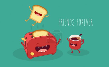 Illustration for Toaster and funny toasted bread and coffe cup. Vector cartoon. Friends forever. Comic characters. - Royalty Free Image