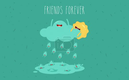 Illustration for Sun and rain. Vector cartoon. Friends forever. comic characters. - Royalty Free Image