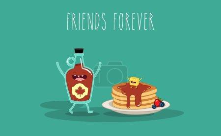 Illustration pour Caricature vectorielle. Petit déjeuner. Des amis pour toujours. Sirop d'érable et crêpe - image libre de droit