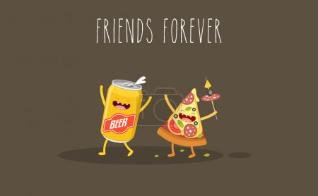 Illustration for Pizza and beer. Fastfood. Vector cartoon. Friends forever. ?omic characters. - Royalty Free Image