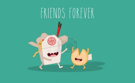Illustration for Chinese food box and fortune cookie. Vector cartoon. Friends forever. - Royalty Free Image