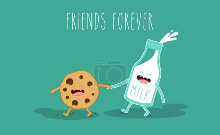 Illustration for Vector cartoons of comic characters bottle of milk and cookie. Friends forever. Breakfast - Royalty Free Image