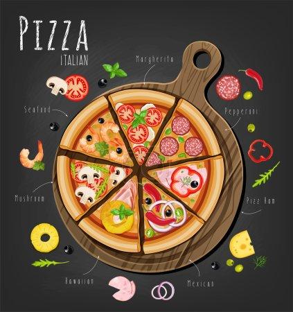 Illustration pour Pizza sur le plateau et les ingrédients pour la pizza sur le tableau - image libre de droit