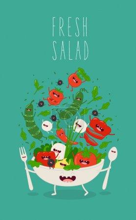 Illustration pour Salade fraîche dessin animé personnage drôle - image libre de droit