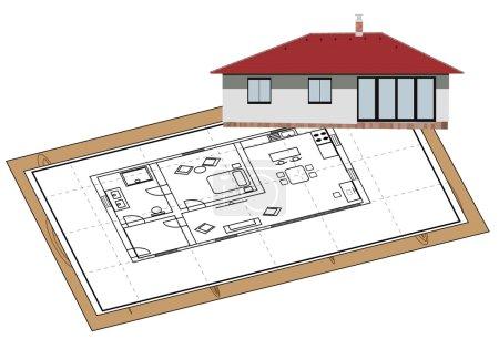 Illustration pour Proposition de maison sur papier et modèle de la façade au coin - image libre de droit