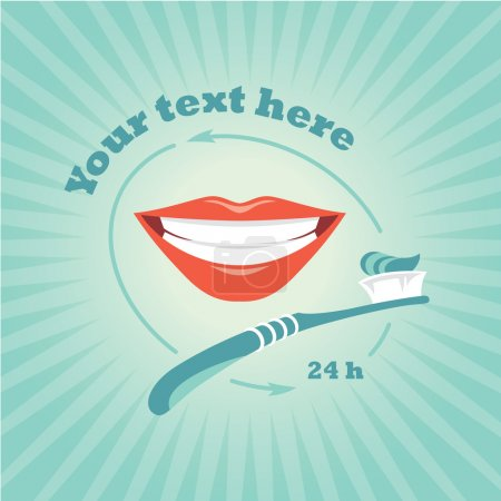 Illustration for Vector illustration with toothbrush and beautiful smile on blue background - Royalty Free Image