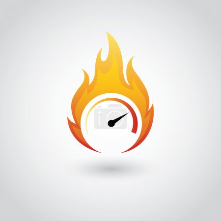 Illustration pour Symbole du compteur de vitesse en feu dans le vecteur - image libre de droit