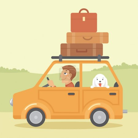 Illustration for Vector illustration of man with dog going on vacation by car - Royalty Free Image