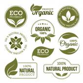 Set of green labels and badges with leaves for organic natural bio and eco friendly products isolated on white background