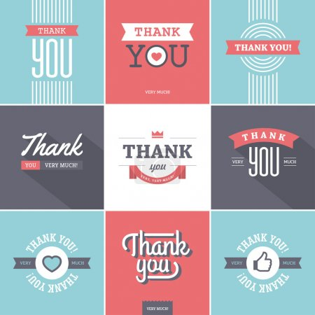 Illustration for Set of creative minimalistic colorful thank you designs with ribbons, long shadow, heart shape and thumb up like icon for cards, stickers, tags, labels, emblems, etc. - Royalty Free Image