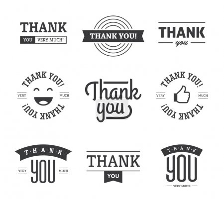 Illustration for Set of black thank you text designs with ribbons, happy face and thumb up like icon. Can be used for labels, emblems, stickers, tags, card, etc. Isolated on white background - Royalty Free Image