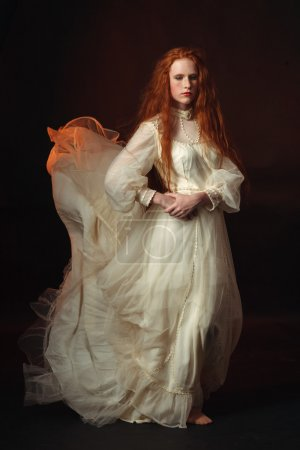 Photo pour Portrait de la femme élégante en robe d'époque médiévale. - image libre de droit