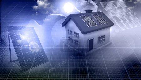 Foto de Render 3D de una casa con paneles solares - Imagen libre de derechos