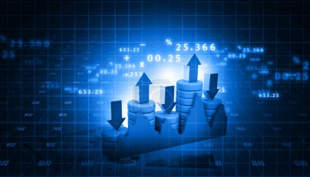 Photo pour Graphique de marché boursier et graphique à barres d'affaires - image libre de droit