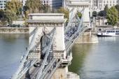 Szechenyi chain bridge. Budapest, Hungary.