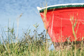 Old red boat on the grass.