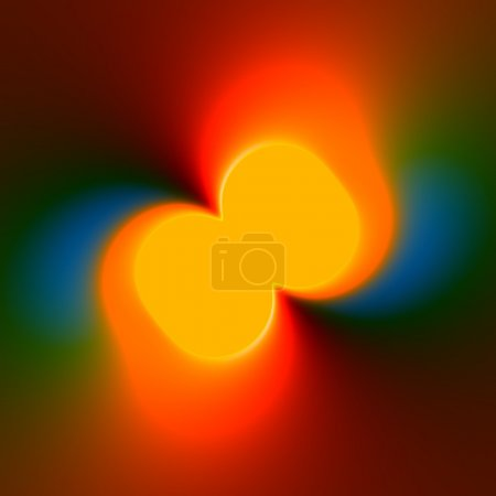 Colorful Abstract Background With Orange Fluorescent Centre - Glowing Light Effect - Mysterious Blue Green Yellow Blur - Graphic Art Design - Surrealist Backdrop - Illuminated Bright Spot - Color Grad