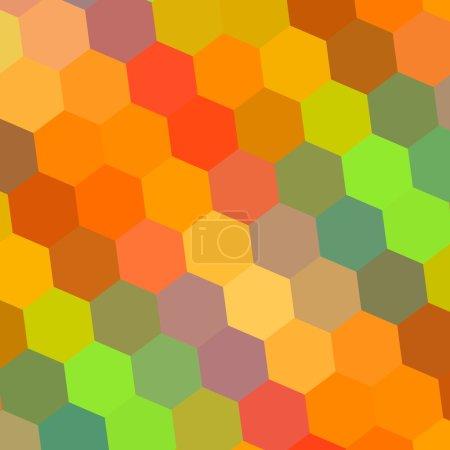 Streszczenie tło w tęczowe kolory - wzór Element projektu ilustracja - Hexagon mozaika - piękny kolor sztuki - cyfrowy tło żółty pomarańczowy czerwony zielony niebieski - kolorowe miodu - 70-tych