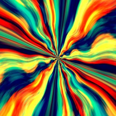 Colorful Vortex Background and Screensaver - Abstract Blue Orange Generative Art - Graffiti Spray Paint - Fantasy Illustration - Zoom Effect - Creative Design - Artistic Surreal Artwork - Dynamic Wave