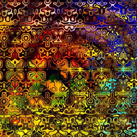 Psychedelic Colorful Art Background. Abstract Decorative Grunge. Weird Fractal Shapes. Colored Digital Fantasy. Artistic Modern Illustration. Red Yellow Orange Blue Black Colors. Creative Shape Image.