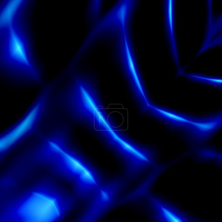 Alien Organ Closeup. Mysterious Dark Blue Image. Abstract Artistic Fantasy. Beautiful 3d Art. Fiction Background. Futuristic Illustration Concept. Glowing Light Effect. Modern Black Pattern. Texture.