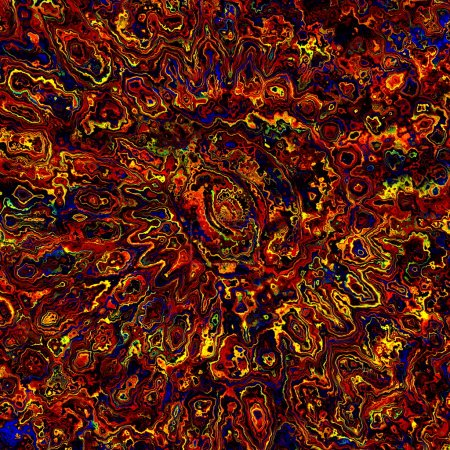 Colorful Artistic Background. Fractal Art Pattern. Digital Abstract Grunge. Psychedelic Computer Generated Illustration. Chaotic Orange Blue Yellow Splatter. Ink or Paint. Different Fantasy Image.