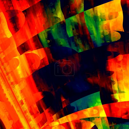 Artistic Colorful Art. Creative Brushstrokes Texture. Modern Abstract Background. Red Green Yellow Orange Blue Color. Digital Illustration Design. Fractal Grunge Image. Psychedelic Shapes Graphic.